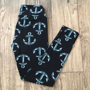 RARE One Size (OS) LuLaRoe black Anchor Leggings!